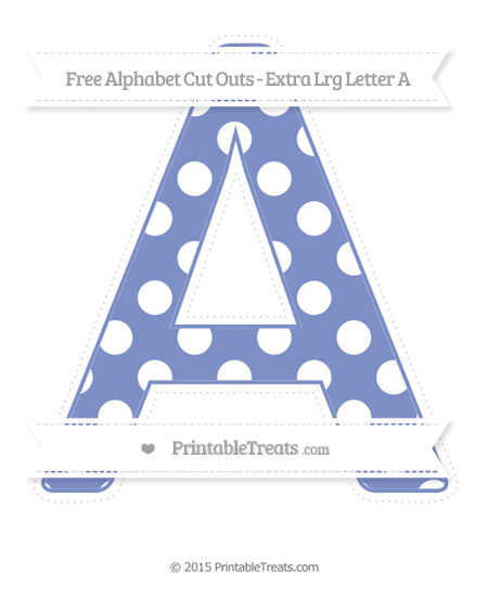 Free Pastel Dark Blue Polka Dot Extra Large Capital Letter A Cut Outs