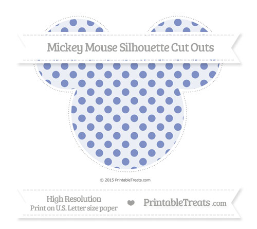 Free Pastel Dark Blue Polka Dot Extra Large Mickey Mouse Silhouette Cut Outs