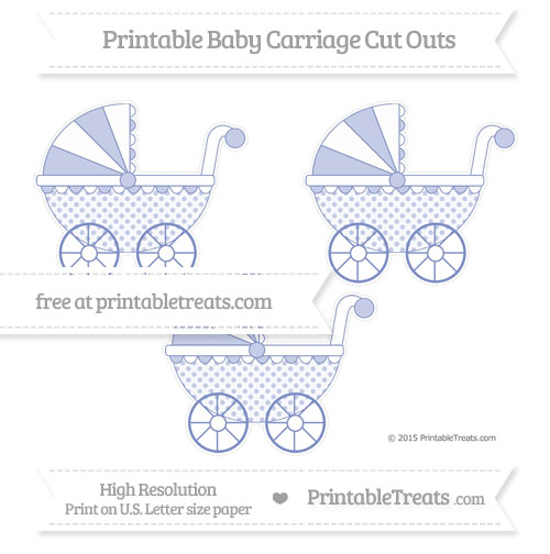 Free Pastel Dark Blue Polka Dot Medium Baby Carriage Cut Outs