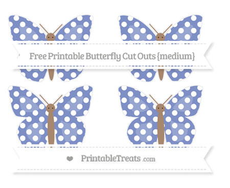 Free Pastel Dark Blue Polka Dot Medium Butterfly Cut Outs