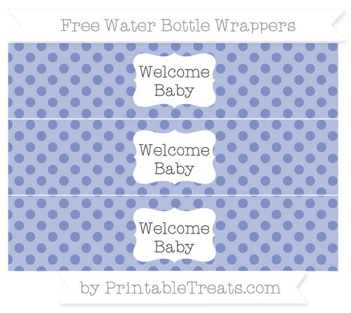 Free Pastel Dark Blue Polka Dot Welcome Baby Water Bottle Wrappers