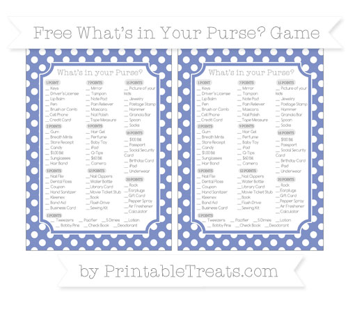 Free Pastel Dark Blue Polka Dot What's in Your Purse Baby Shower Game