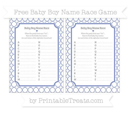 Free Pastel Dark Blue Quatrefoil Pattern Baby Boy Name Race Game