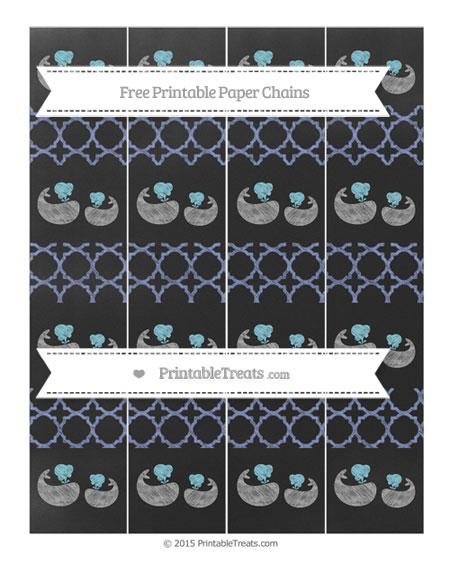 Free Pastel Dark Blue Quatrefoil Pattern Chalk Style Baby Whale Paper Chains