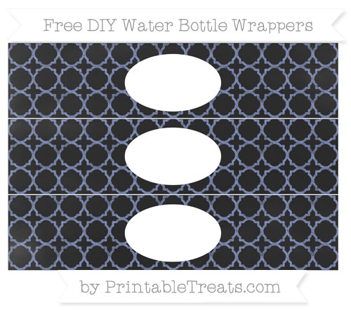 Free Pastel Dark Blue Quatrefoil Pattern Chalk Style DIY Water Bottle Wrappers