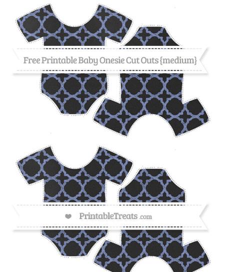 Free Pastel Dark Blue Quatrefoil Pattern Chalk Style Medium Baby Onesie Cut Outs