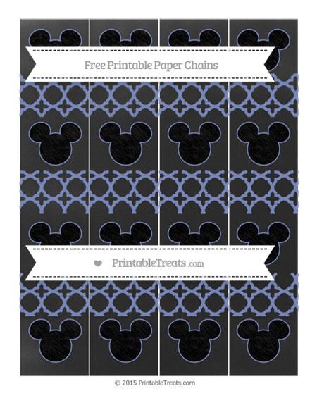 Free Pastel Dark Blue Quatrefoil Pattern Chalk Style Mickey Mouse Paper Chains