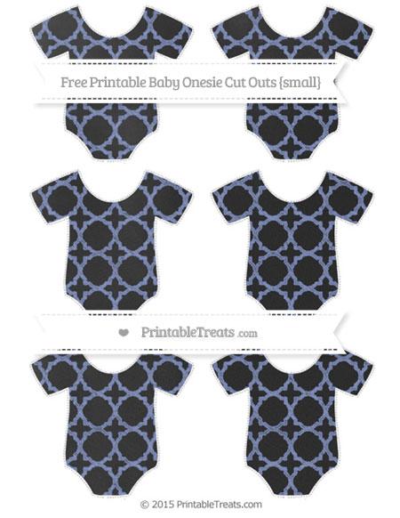 Free Pastel Dark Blue Quatrefoil Pattern Chalk Style Small Baby Onesie Cut Outs