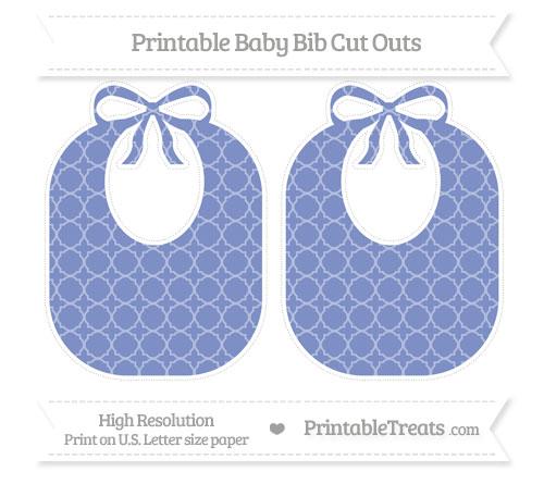 Free Pastel Dark Blue Quatrefoil Pattern Large Baby Bib Cut Outs