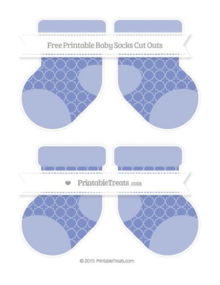 Free Pastel Dark Blue Quatrefoil Pattern Medium Baby Socks Cut Outs