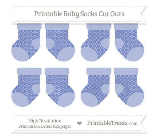 Free Pastel Dark Blue Quatrefoil Pattern Small Baby Socks Cut Outs
