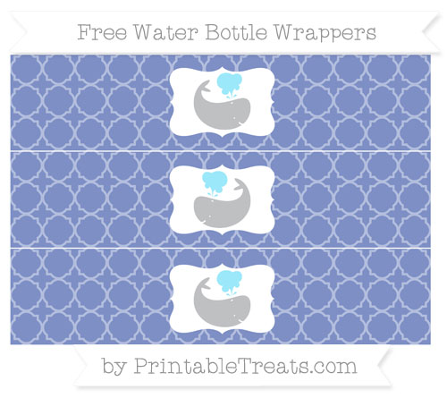 Free Pastel Dark Blue Quatrefoil Pattern Whale Water Bottle Wrappers