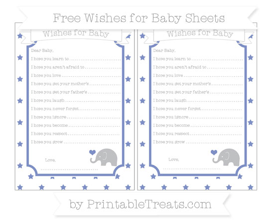 Free Pastel Dark Blue Star Pattern Baby Elephant Wishes for Baby Sheets