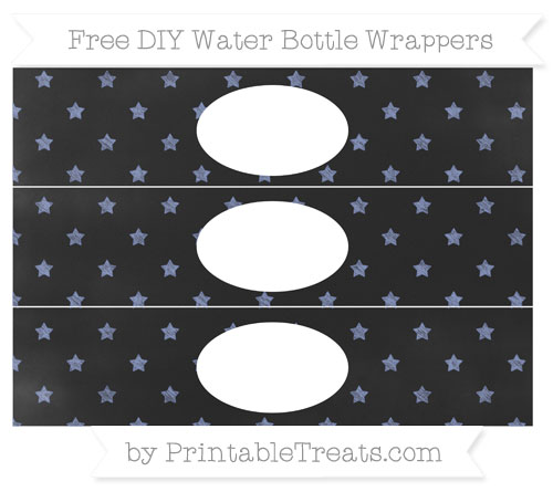 Free Pastel Dark Blue Star Pattern Chalk Style DIY Water Bottle Wrappers