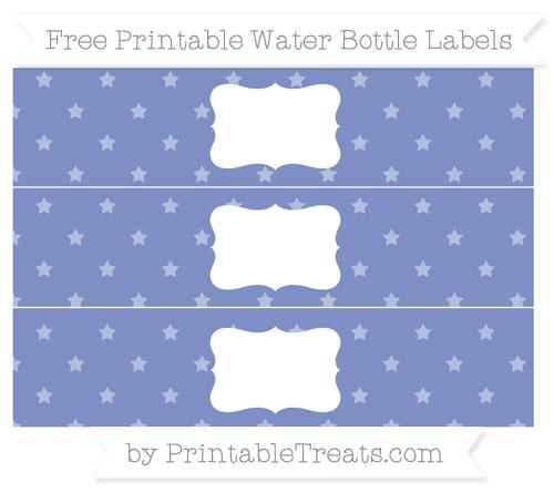 Free Pastel Dark Blue Star Pattern Water Bottle Labels