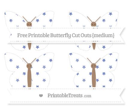 Free Pastel Dark Blue Star Pattern Medium Butterfly Cut Outs