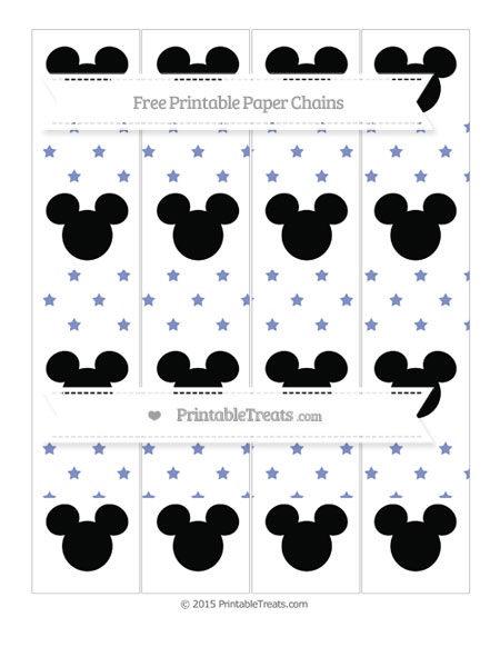 Free Pastel Dark Blue Star Pattern Mickey Mouse Paper Chains