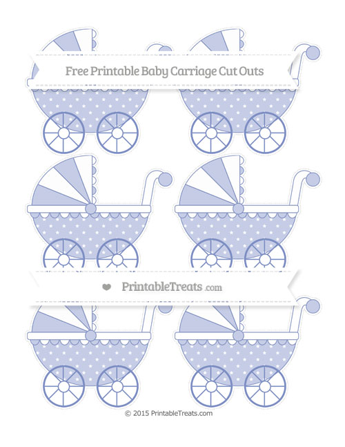 Free Pastel Dark Blue Star Pattern Small Baby Carriage Cut Outs