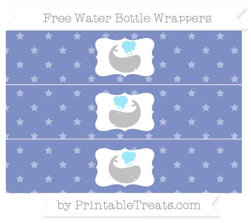 Free Pastel Dark Blue Star Pattern Whale Water Bottle Wrappers