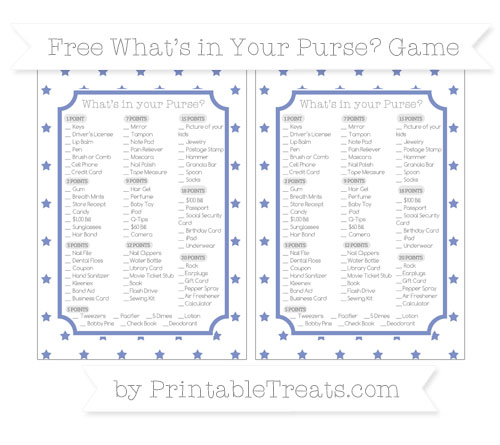 Free Pastel Dark Blue Star Pattern What's in Your Purse Baby Shower Game