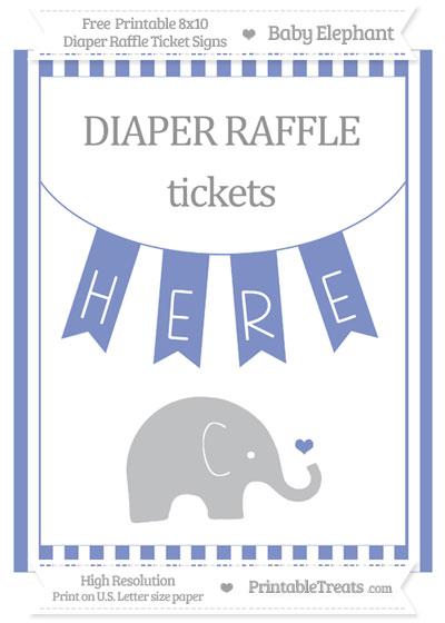 Free Pastel Dark Blue Striped Baby Elephant 8x10 Diaper Raffle Ticket Sign