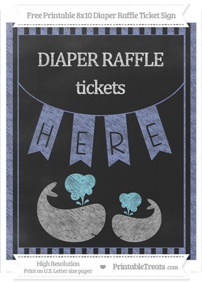 Free Pastel Dark Blue Striped Chalk Style Baby Whale 8x10 Diaper Raffle Ticket Sign