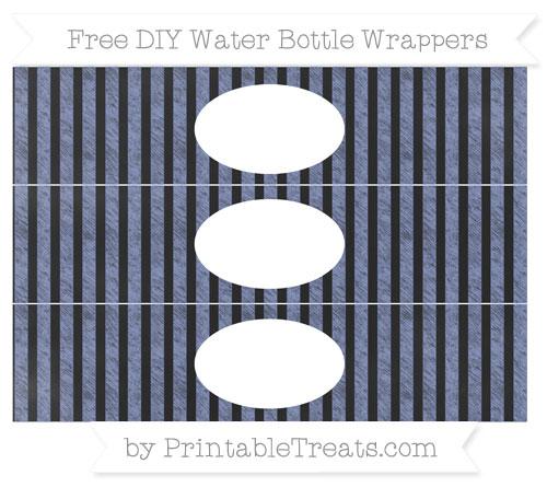 Free Pastel Dark Blue Striped Chalk Style DIY Water Bottle Wrappers