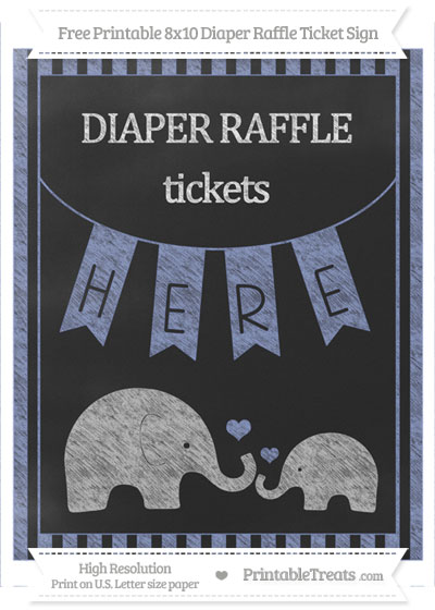 Free Pastel Dark Blue Striped Chalk Style Elephant 8x10 Diaper Raffle Ticket Sign
