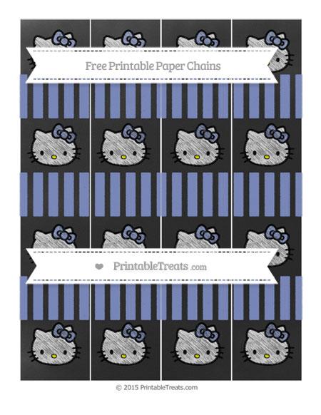 Free Pastel Dark Blue Striped Chalk Style Hello Kitty Paper Chains