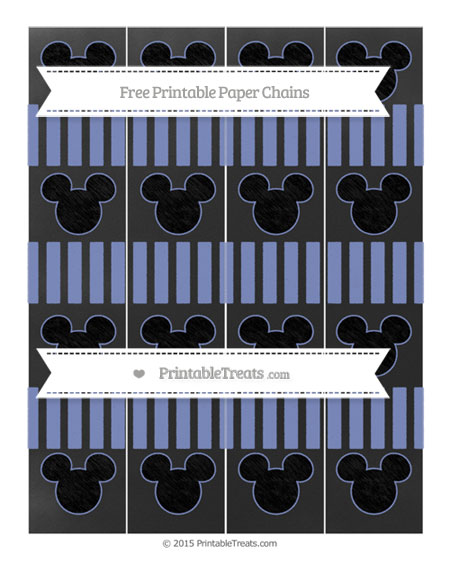 Free Pastel Dark Blue Striped Chalk Style Mickey Mouse Paper Chains
