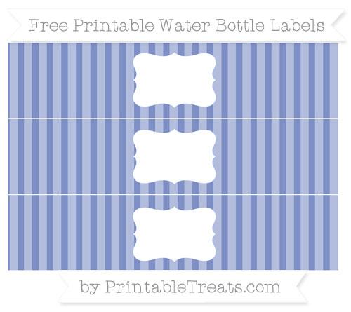 Free Pastel Dark Blue Striped Water Bottle Labels