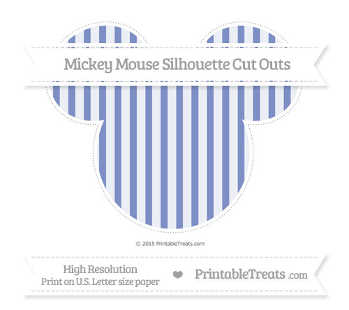 Free Pastel Dark Blue Striped Extra Large Mickey Mouse Silhouette Cut Outs