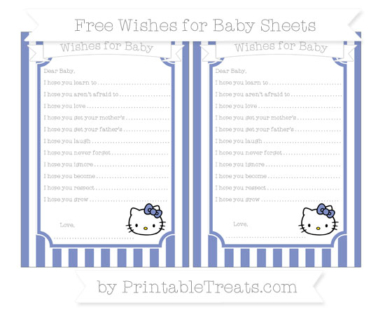 Free Pastel Dark Blue Striped Hello Kitty Wishes for Baby Sheets