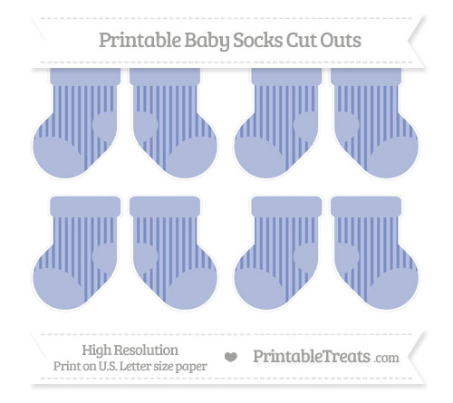 Free Pastel Dark Blue Striped Small Baby Socks Cut Outs