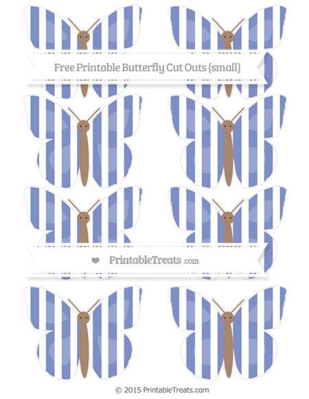 Free Pastel Dark Blue Striped Small Butterfly Cut Outs
