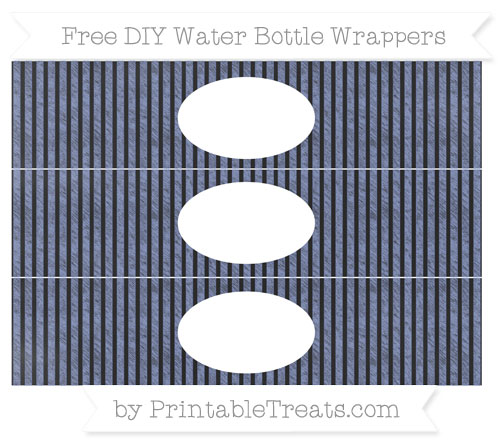 Free Pastel Dark Blue Thin Striped Pattern Chalk Style DIY Water Bottle Wrappers