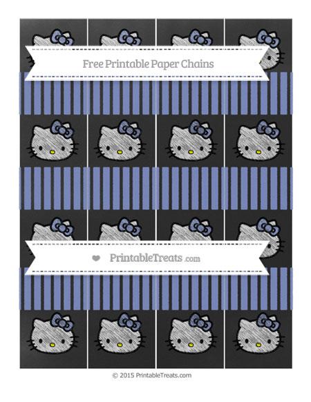 Free Pastel Dark Blue Thin Striped Pattern Chalk Style Hello Kitty Paper Chains