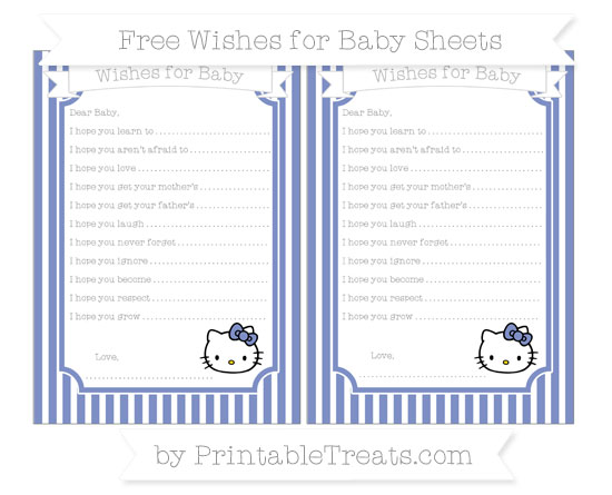 Free Pastel Dark Blue Thin Striped Pattern Hello Kitty Wishes for Baby Sheets