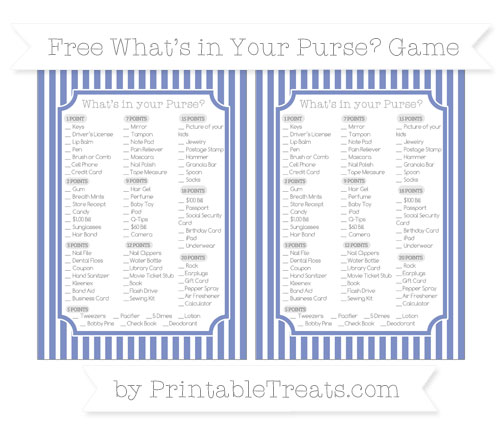 Free Pastel Dark Blue Thin Striped Pattern What's in Your Purse Baby Shower Game