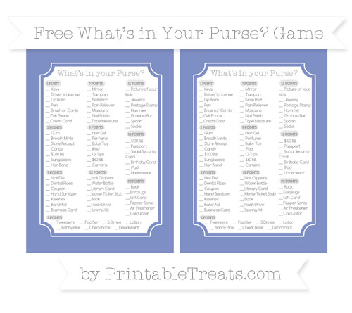 Free Pastel Dark Blue What's in Your Purse Baby Shower Game