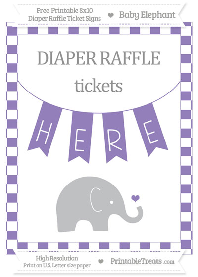 Free Pastel Dark Plum Checker Pattern Baby Elephant 8x10 Diaper Raffle Ticket Sign