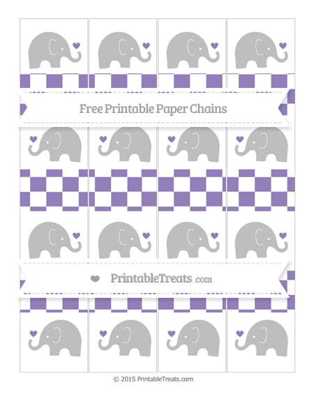 Free Pastel Dark Plum Checker Pattern Baby Elephant Paper Chains