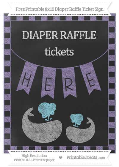 Free Pastel Dark Plum Checker Pattern Chalk Style Baby Whale 8x10 Diaper Raffle Ticket Sign