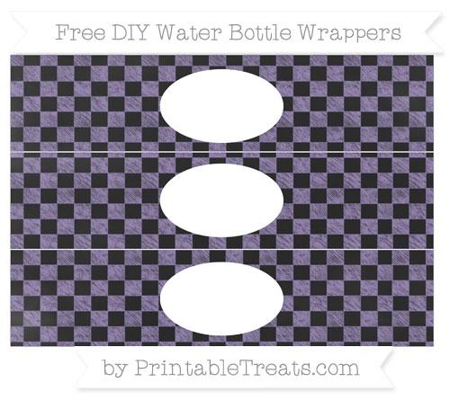 Free Pastel Dark Plum Checker Pattern Chalk Style DIY Water Bottle Wrappers