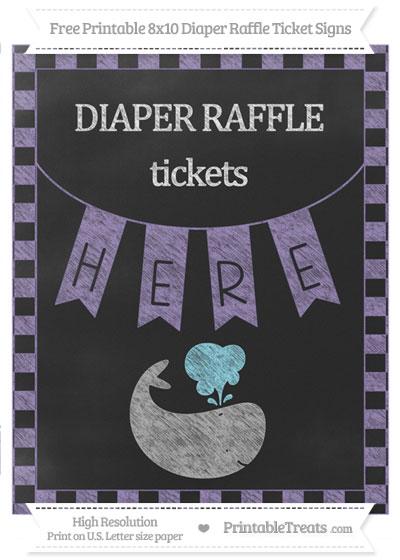 Free Pastel Dark Plum Checker Pattern Chalk Style Whale 8x10 Diaper Raffle Ticket Sign