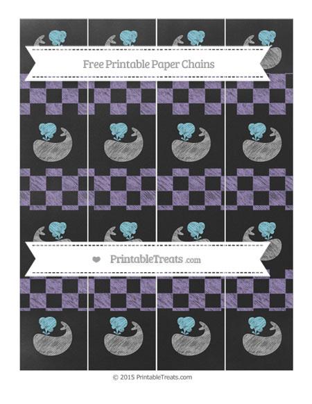 Free Pastel Dark Plum Checker Pattern Chalk Style Whale Paper Chains