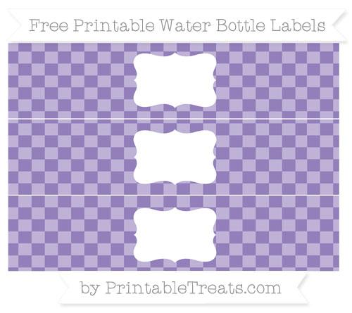Free Pastel Dark Plum Checker Pattern Water Bottle Labels