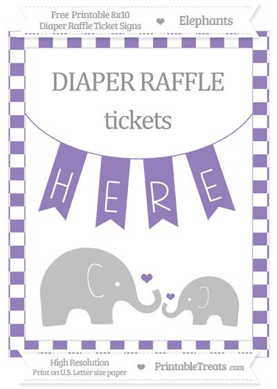 Free Pastel Dark Plum Checker Pattern Elephant 8x10 Diaper Raffle Ticket Sign