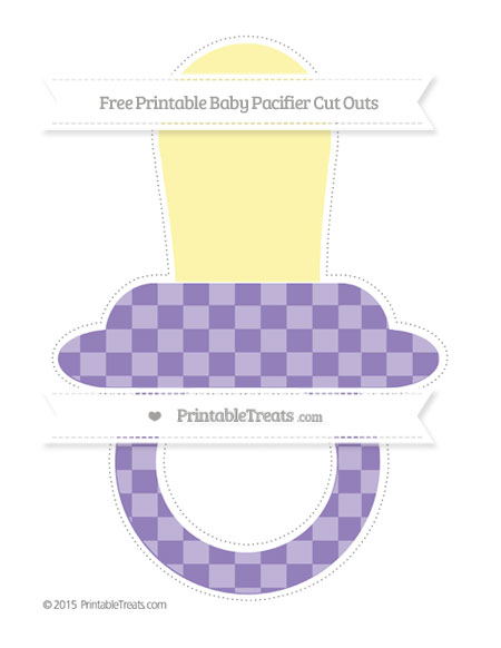 Free Pastel Dark Plum Checker Pattern Extra Large Baby Pacifier Cut Outs