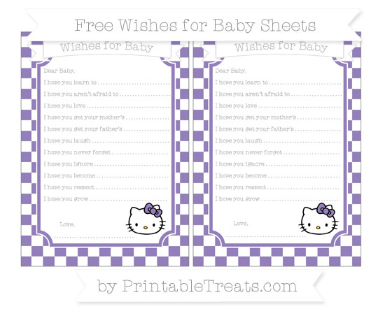 Free Pastel Dark Plum Checker Pattern Hello Kitty Wishes for Baby Sheets